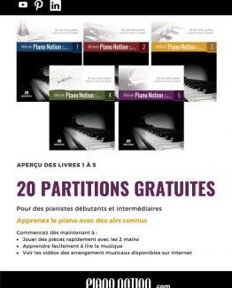 20 Partitions gratuites – Méthode Piano Notion