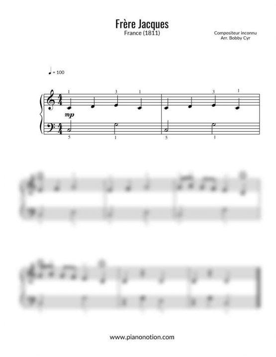 Frère Jacques - Partition piano facile pour débutants - Comptine | Piano Notion