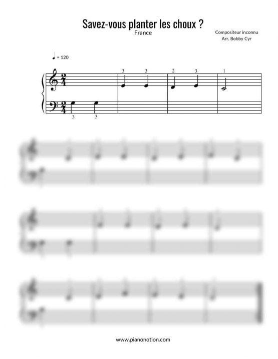 Savez-vous planter les choux? Partition piano facile pour débutants - Comptine